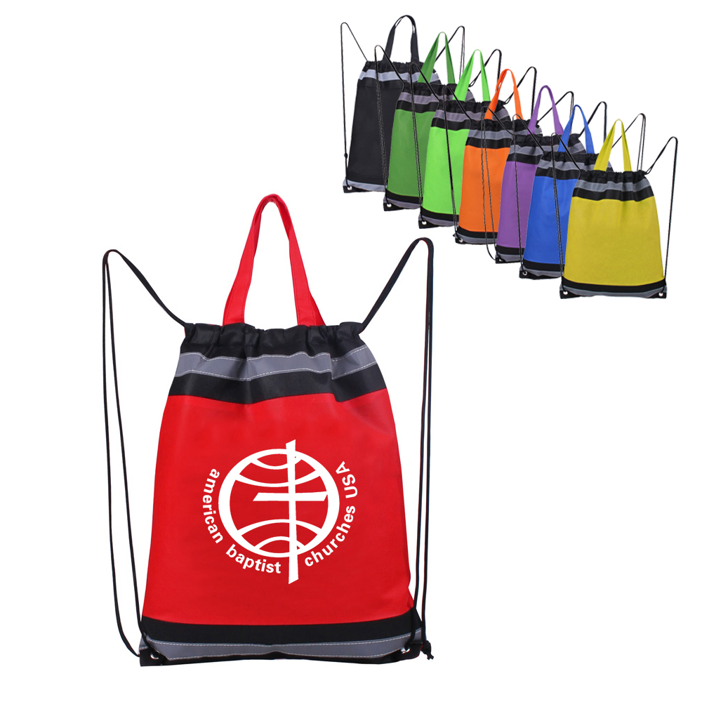 Non-woven Drawstring Backpack with Reflective Tape