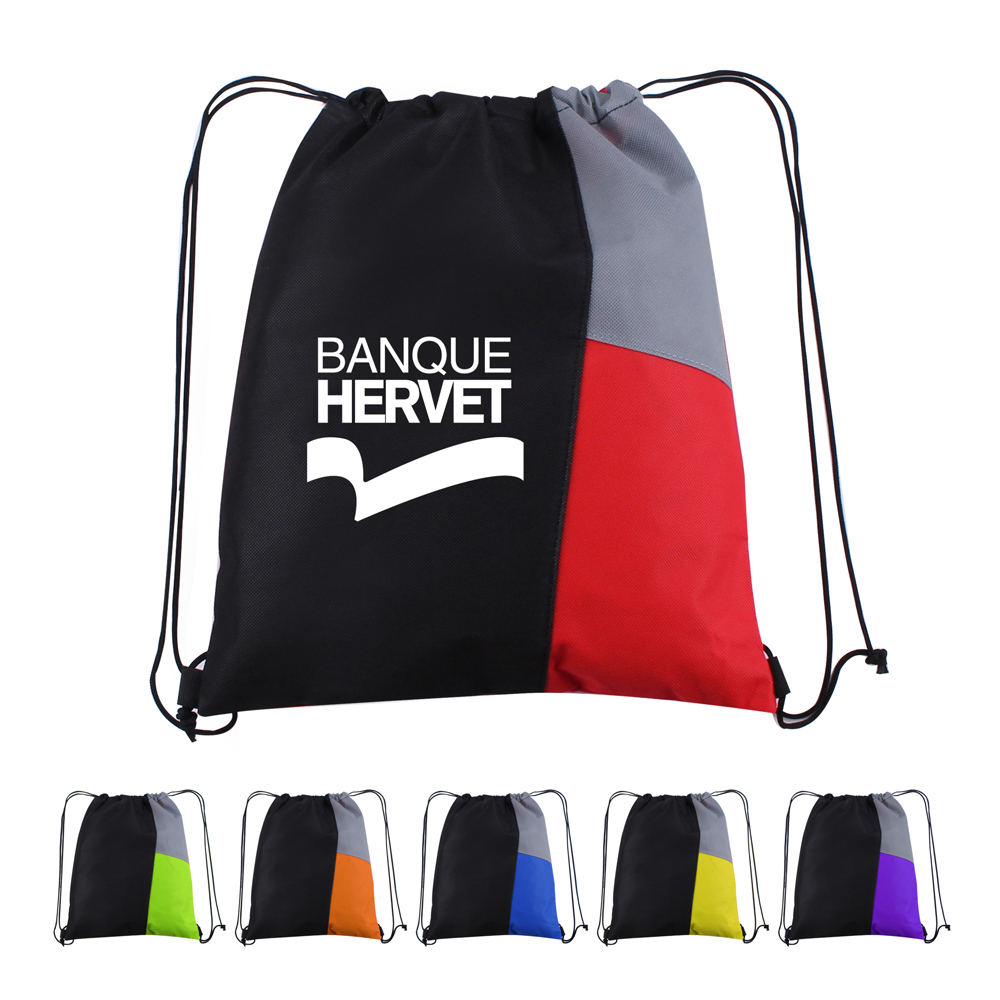 13W x 15H inch Side Color Drawstring Backpacks - 13W x 15H inch Side Color Drawstring Backpacks