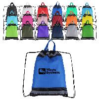 "14"" x 18"" Reflective Polyester Drawstring Backpack - 14"" x 18"" Reflective Polyester Drawstring Backpack"