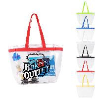 Color Handles Clear Plastic Tote Bags - Color Handles Clear Plastic Tote Bags