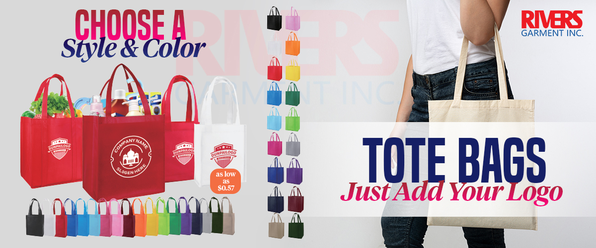 Rivers Garment supplies wholesale Tote Bags to the Promotional Industry.